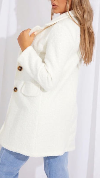 Cream Borg Teddy Button Coat