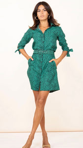 Dancing Leopard Jona Green Leopard Shirt Dress