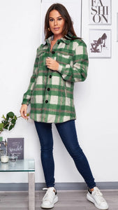 Ruby Brushed Check Shacket Emerald Green Check
