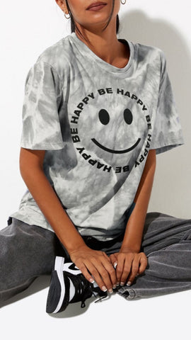 Oversized Be Happy T-Shirt - Charcoal