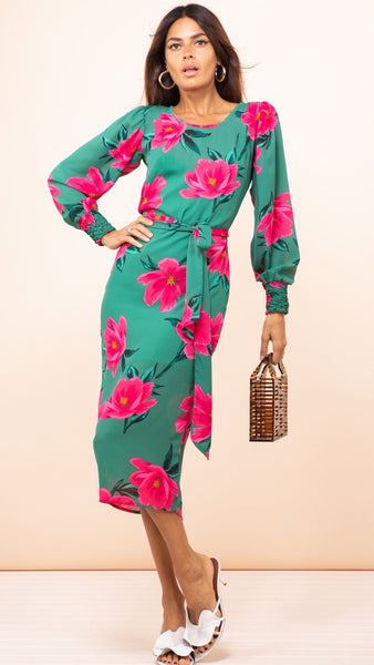 Dancing Leopard Jagger Sabina Pink Green Tulip Midi Dress