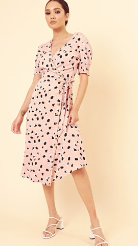 Influence Pink Leopard Midi Dress
