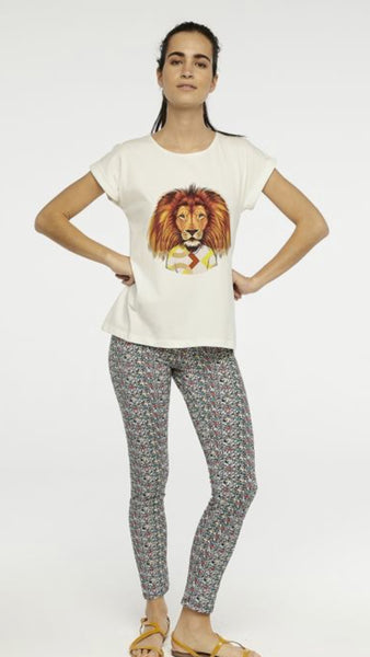 Compania Fantastica White Geometric Lion T-Shirt