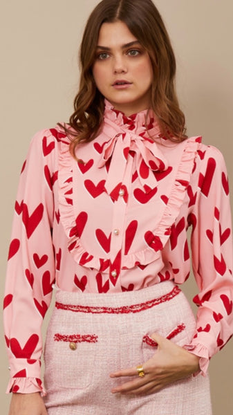 Sister Jane Ferris Wheel Bow Blouse - Cotton Candy and Scarlet