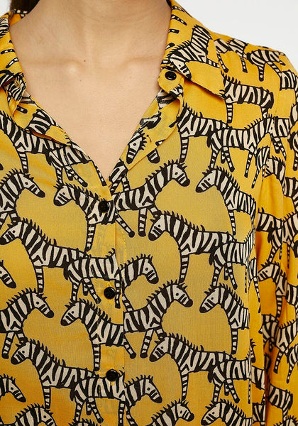 Zebra Print Mustard Yellow Shirt