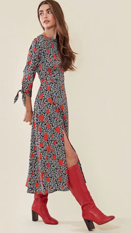 Neon Rose Heart Print Midi Dress