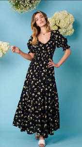 Sister Jane Prairie Bloom Midi Dress - Black
