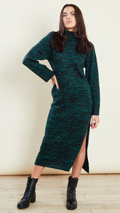 Green Roll Neck Knitted Midi Dress