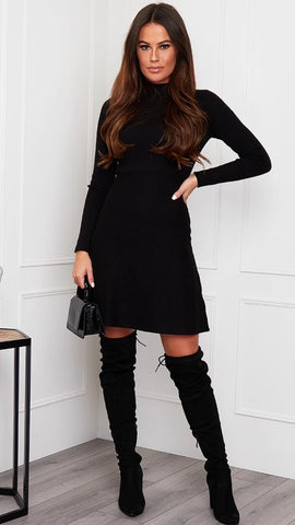 Ida High Neck Knitted Skater Dress Black