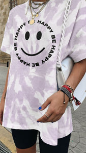 Oversized Be Happy T-Shirt - Lilac
