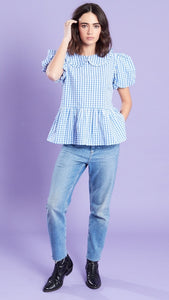 Shell Gingham Blue Collar Peplum Top