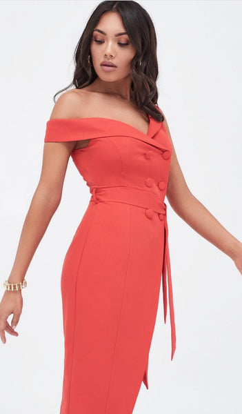 Lavish Alice One Shoulder Tailored Wrap Dress With Button Detail in Red