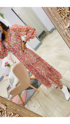 Neon Rose Mabel Ditsy Rose Maxi Dress