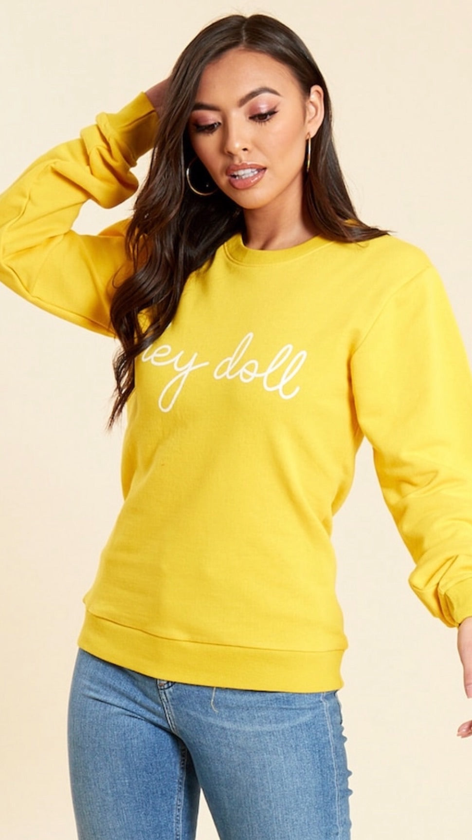 Hey Doll Sweatshirt - Yellow