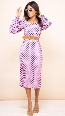 Dancing Leopard Sabina Pink Dotty Midi Dress