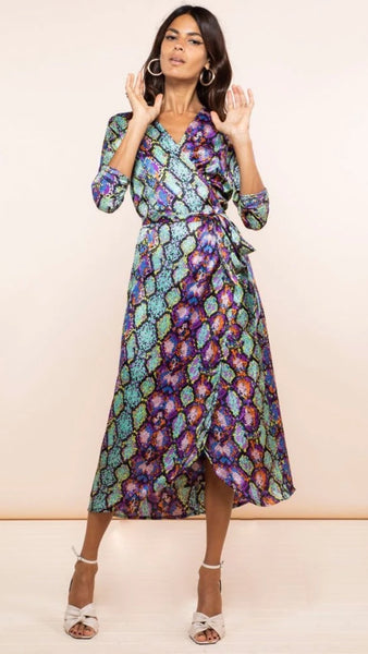 Dancing Leopard Yondel Snake Print Wrap Dress
