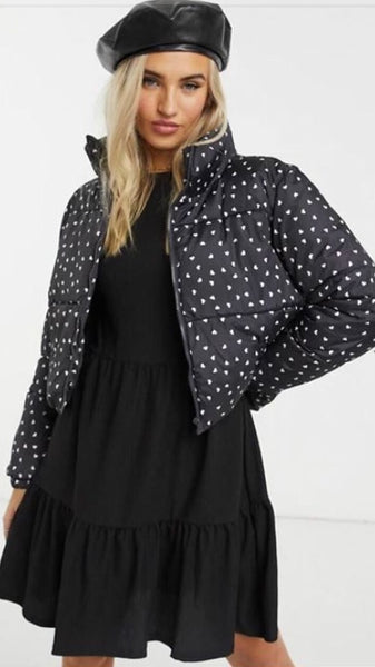 Black Puffer Jacket with Ditsy Heart Print