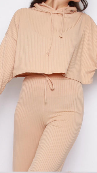 Hoodie & Wide Leg Trousers Ribbed Co-Ord Lounge Set -Beige
