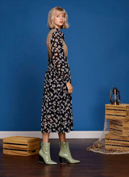 Sister Jane Whisper Wind Mixed Print Midi Dress