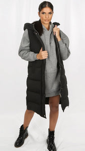 Padded Longline Gilet with Hood