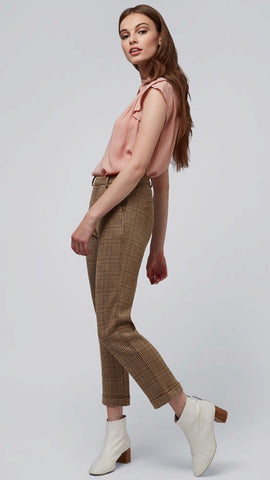 Louche Jaylo Taupe Check Trousers