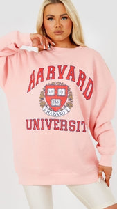 Harvard Oversized Pink Sweatshirt