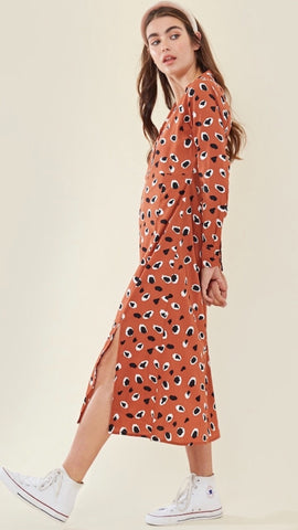 Wednesdays Girl Rust Animal Print Shirt Dress