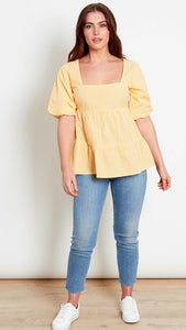 Stace Yellow Gingham Top