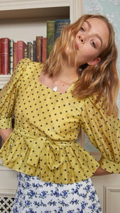 Sister Jane Hankies Yellow Peplum Top
