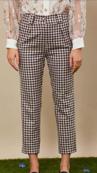 Sister Jane Attraction Check Peg Trousers - Pink and Grey