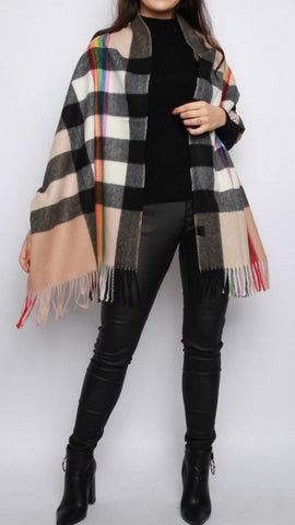 Rainbow Check Print Shawl Scarf  (Two Colours)