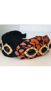 Grace Loves Zoe Orange Leopard Hairband