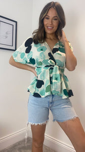 Demi Batwing Belted Green Top