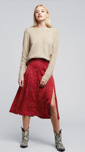 Louche Kiyo Red Spot Midi Skirt