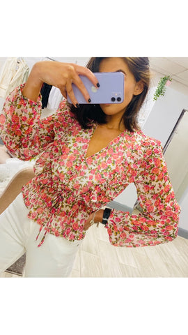 Neon Rose Mabel Ditsy Rose Ruffle Blouse