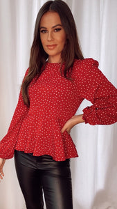 Leanna Red Polka Dot Peplum Top