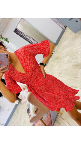 Red Mini Heart Wrap Dress