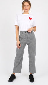 Wednesday's Girl Grey Stripe Vintage Fit Trousers