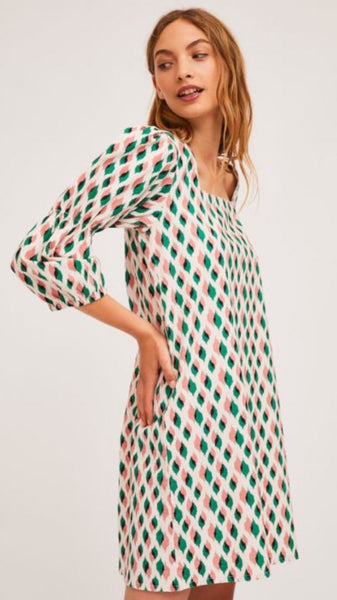 A-Line Puff Sleeve Square Neck Dress