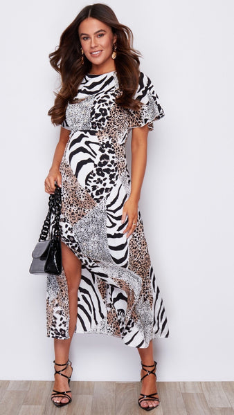 Annabelle Animal Print Angel Sleeve Midaxi Dress