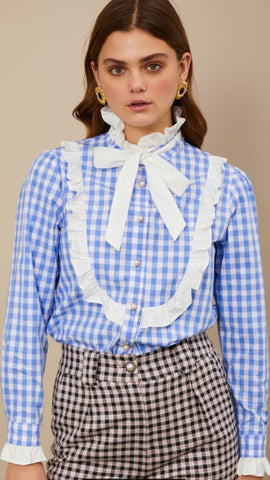 Sister Jane Giggle Gingham Bow Blouse - Blue and White
