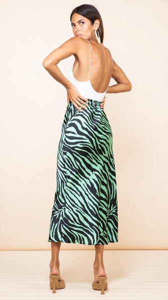 Dancing Leopard Renzo Skirt In Green Zebra