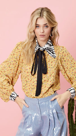 Sister Jane Prickly Pear Mixed Print Blouse