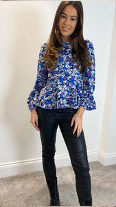 Leanna Balloon Sleeve Peplum Top Purple Floral