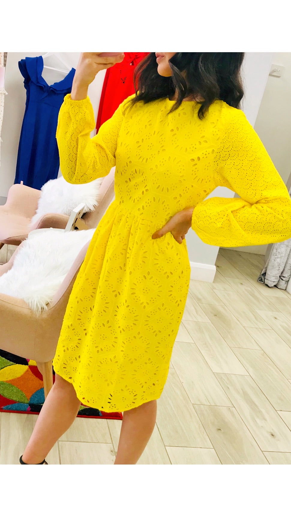 Glamorous Yellow Broderie Anglaise Long Sleeve Dress
