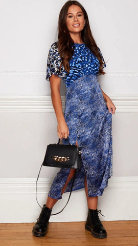 Zoe Animal Print Angel Sleeve Blue Midaxi Dress