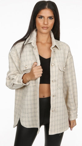 Pearl Trim Oversized Shacket