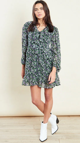 Green Ruffle Detail Mini Smock Dress