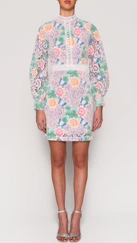 True Decadence Pastel Floral Lace Dress