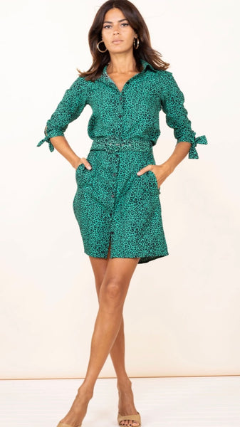 Dancing Leopard Jonah Mini Shirt Dress in Green Leopard (Pre-Order)